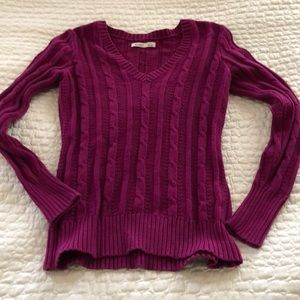 Old Navy.  Size M, long sleeve raspberry sweater.